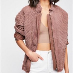 Free People Sarah Quilted Jacket Rasperry Mocha